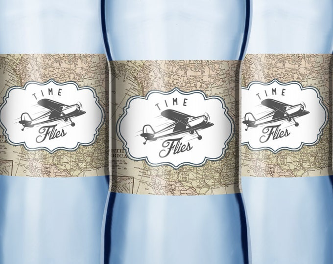Time flies water labels, Oh The Places You Will Go, birthday Invitation •  vintage airplane, airplane