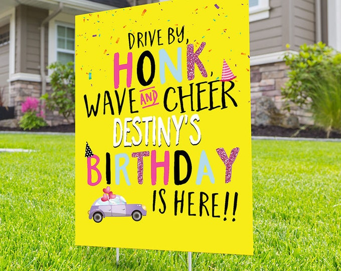 Boy drive by birthday parade, Digital file only, yard sign, social distancing drive-by birthday party, car birthday parade quarantine party