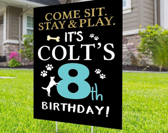 Happy birthday Yard Sign design, Digital file only, Honk outdoor sign, puppy party, Dog Birthday Yard Sign, Happy Birthday Sign, Dog party