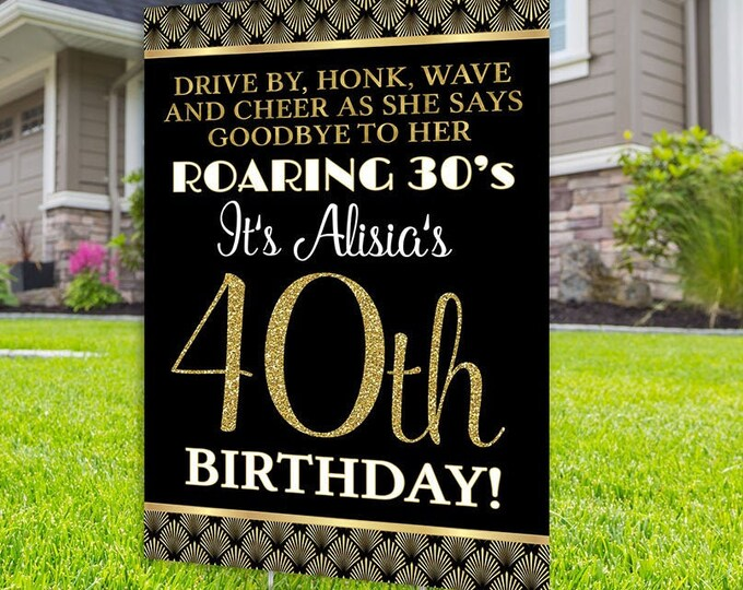 Happy birthday yard sign design, Digital file only, Honk outdoor sign, Great Gatsby, Birthday Yard Sign, Happy Birthday Sign