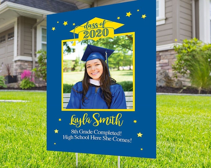 Class of 2020 Graduation Photo Yard Sign - High School Senior Welcome Sign, Digital file only,  Welcome Sign Congrats, Graduation Yard Sign