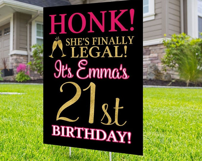 Happy birthday Yard Sign,  Digital file only, Honk outdoor sign, Quarantine Birthday, Birthday Yard Sign, Happy Birthday Sign, Yard sign, 21