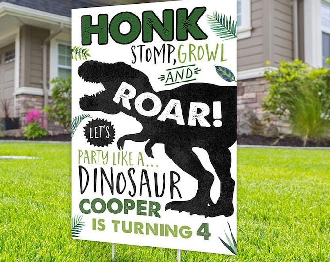 Birthday yard sign design, Digital file only, yard sign, drive-by birthday party, car birthday parade quarantine party, dinosaur birthday