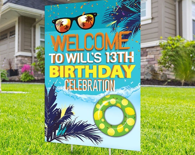 Pool party lawn sign, Digital file only, yard sign, social distancing drive-by birthday party, car birthday parade quarantine party, summer
