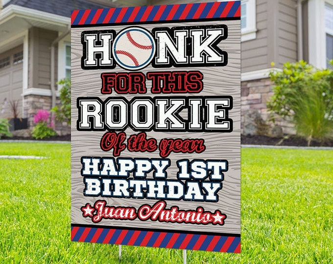 Baseball birthday yard sign design, Digital file only, yard sign, social distancing drive-by birthday party, quarantine party, sports sign