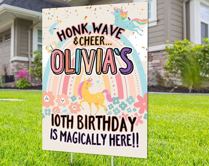 Unicorn, Drive by birthday parade, Digital file only, yard sign, social distancing drive-by birthday party, birthday parade quarantine party