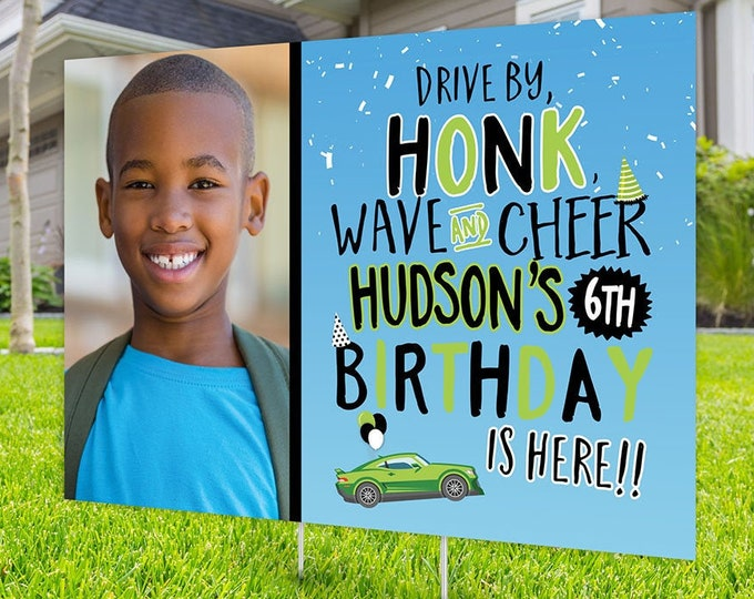 Drive by birthday parade, Digital file only, yard sign, social distancing drive-by birthday party, car birthday parade quarantine party