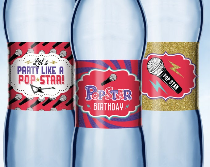 Rock Star, Water Bottle Labels for Birthday Party and baby shower - Rock Star Decorations - Rock Star Water Bottle Labels - Guitar