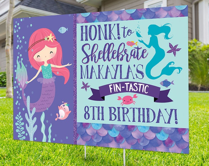 Birthday yard sign design, Digital file only, yard sign, drive-by birthday party, car birthday parade quarantine party, mermaid birthday