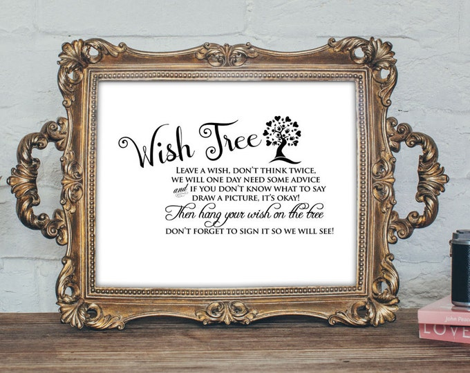 Wishes tree sign, Baby shower game, baby shower sign, wish tree, table sign, party decor, advice card, wedding wishes