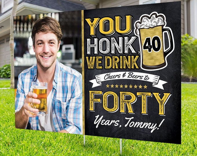 Any Age, Happy birthday Yard Sign design,  Digital file only, Honk sign, Quarantine Birthday,Cheers and beers sign, Aged to perfection sign