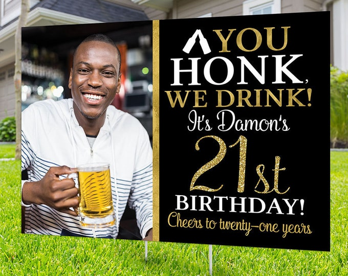 Happy birthday yard sign design, Digital file only, Honk outdoor sign, Quarantine Birthday, Birthday Aged to perfection, Happy Birthday Sign