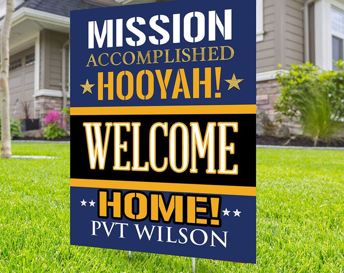 Army, Air Force, Navy, Marines, Digital file only, Welcome home lawn sign design, yard sign, retirement party gift, retirement party