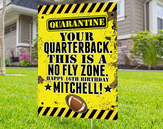 Football lawn sign, Digital file only, yard sign, social distancing drive-by birthday party, car birthday parade, quarantine party