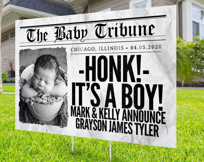 New Baby Yard Sign - Yard Stork Sign, Digital file only,  Baby Birth Announcement Lawn Signs, It's a Girl, It's a Boy, Hip hop, yard sign