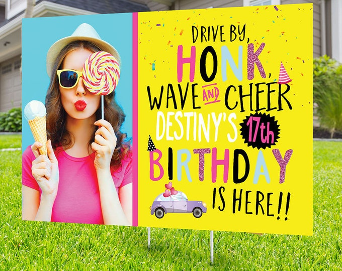 Woman's drive by birthday parade, Digital file only, yard sign, drive-by birthday party, car birthday parade quarantine party
