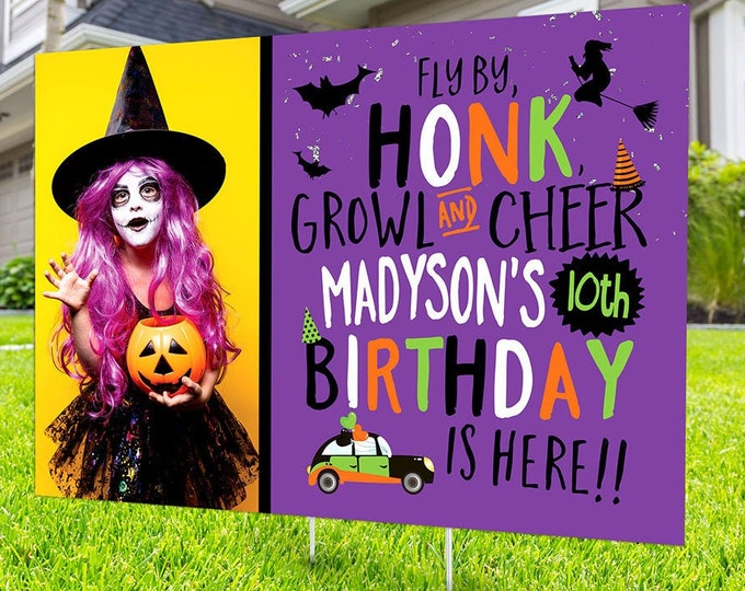 Drive by birthday parade, Digital file only, yard sign, social distancing, drive-by birthday party, Halloween birthday, quarantine party