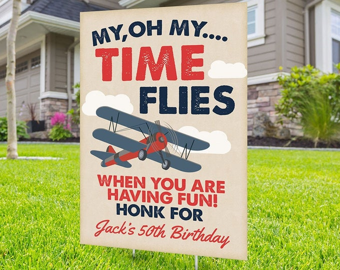 Happy birthday airplane Yard Sign, Digital file only, Honk outdoor sign, Quarantine Birthday , , Birthday Yard Sign, Happy Birthday Sign
