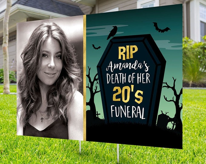 Death of 20's party sign, Digital file only, yard sign, lawn sign, drive-by birthday party, Halloween birthday, quarantine party