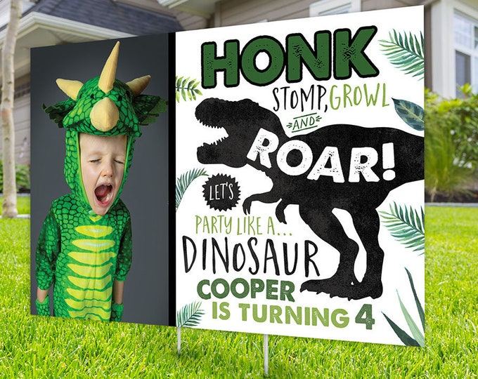 Birthday yard sign design, Digital file only, yard sign, drive-by birthday party, car birthday parade quarantine party, dinosaur birthday