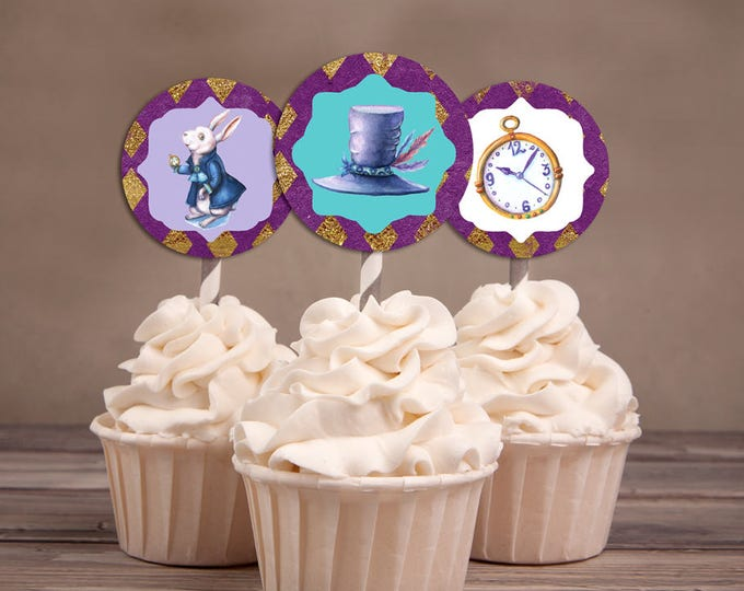 Mad Hatter Tea Party, Alice in Wonderland, cupcake toppers, birthday decor / Printable for Birthday, wedding, baby shower