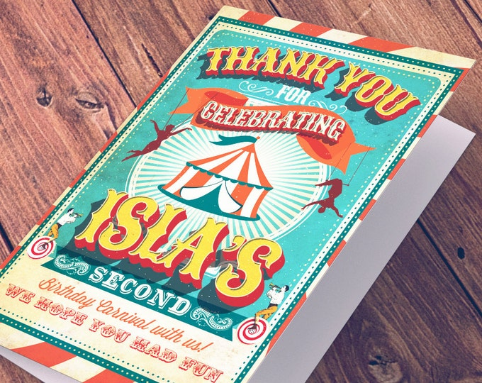 Circus, carnival , Thank You Card - Greeting Card - All occasion card - CIRCUS - baby shower thank you - Birthday Party, vintage