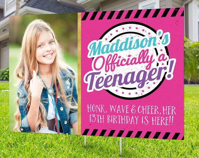 Drive by birthday parade, Digital file only, yard sign, social distancing drive-by birthday party, car birthday parade quarantine party, 13