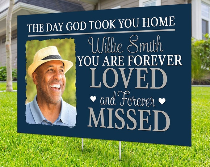 Yard sign, Funeral sign design, Digital file only, memorial sign, happy heavenly birthday, in memory of sign, Memorial birthday sign,