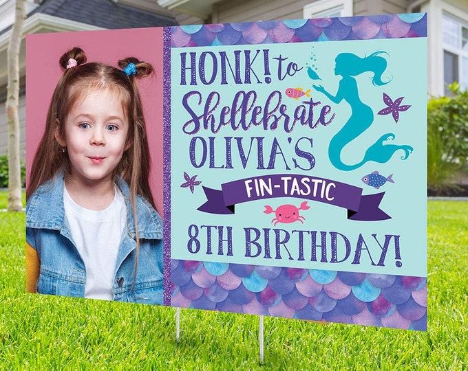 Birthday yard sign design, Digital file only, yard sign, drive-by birthday party, car birthday parade quarantine party, Mermaid birthday