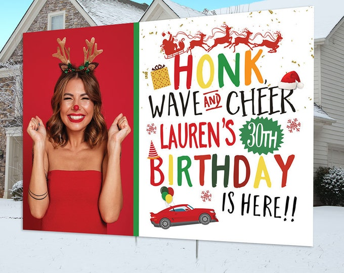 Birthday lawn sign design, Digital file only, yard sign, social distancing, drive-by birthday party, Christmas birthday, Holiday birthday