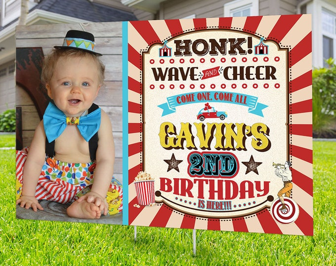 Drive by birthday parade, Digital file only, yard sign, social distancing drive-by birthday party, car birthday parade, Circus, Carnival