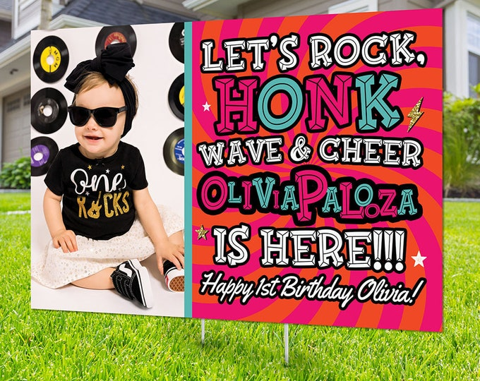 Drive by birthday parade, Digital file only, yard sign, social distancing drive-by birthday party, Rockstar birthday sign