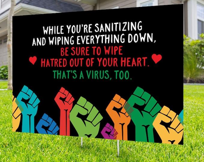 Black lives matter yard sign design, Digital file only, No Hate sign, Black rights, human rights, Love thy neighbor, Black lives matter,LGBT