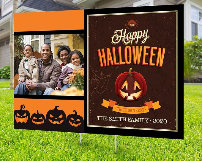 Halloween yard sign design, digital file only, Happy Halloween sign, Party Lawn Decorations, Trick or treat, Halloween Holiday sign