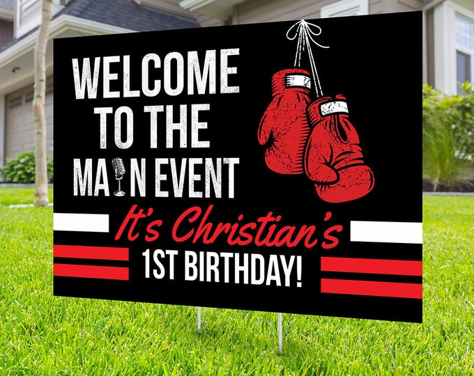 Boxing birthday yard sign design, Digital file only, yard sign, social distancing drive-by birthday party, quarantine party, sports sign