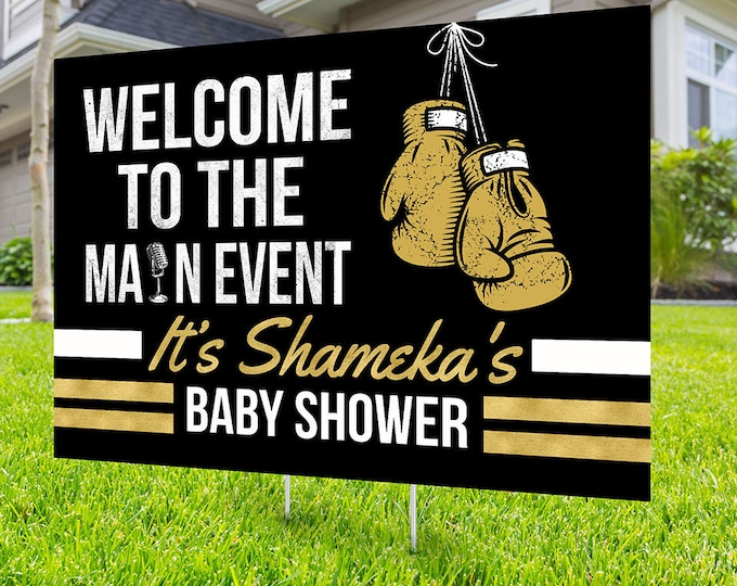 Boxing birthday yard sign design, boxing baby shower, gender reveal, Digital file only, yard sign, drive-by birthday party, sports sign