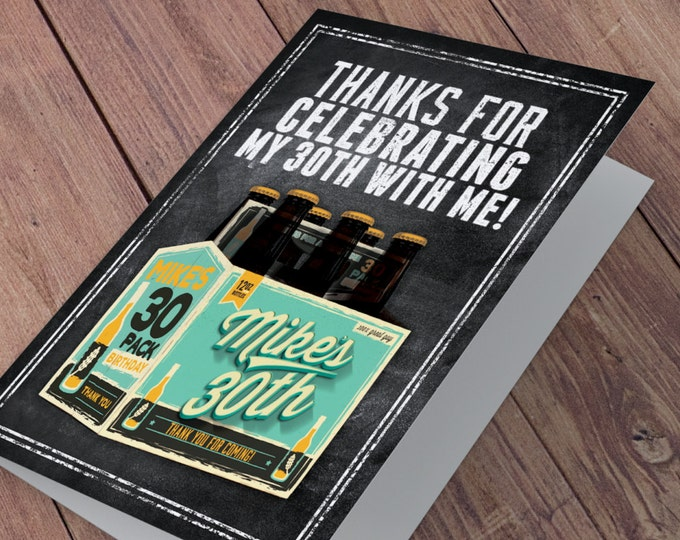 Thank you card, ANY AGE, Cheers and Beers invitation, beer, 21st, 30th, 40th, 50th, 60th, 70th, Surprise Birthday Party Invitation, cheers,