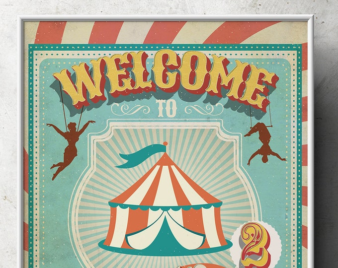 Carnival Party - Circus Party - Welcome Poster Sign with Photo - Customized Printable - Vintage circus- Vintage Carnival - Digital file Only
