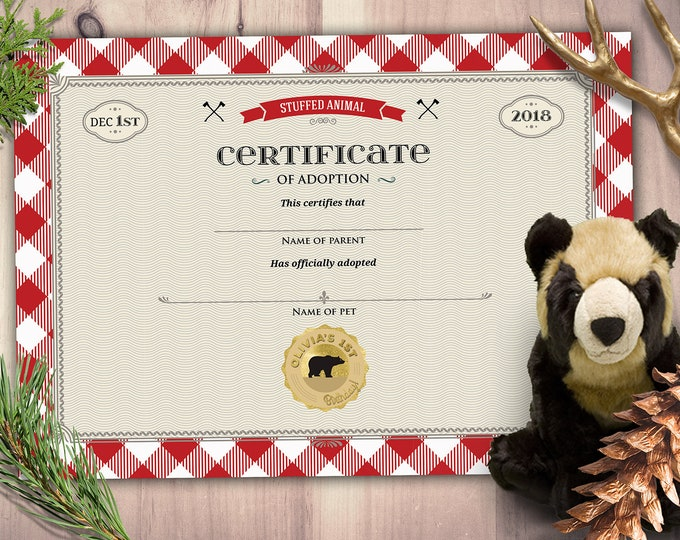 Lumberjack, woodland, party favor, stuffed animal adoption certificate, Buffalo Plaid, Woodland, Lumberjack, Rustic,Bear, Printable file
