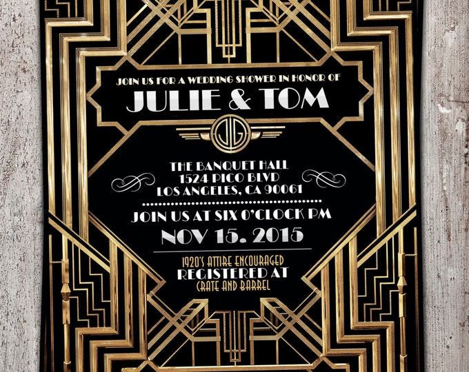 Great Gatsby wedding shower invitation, Hollywood film theme, birthday party invite Black and gold glam printable digital invite, bridal