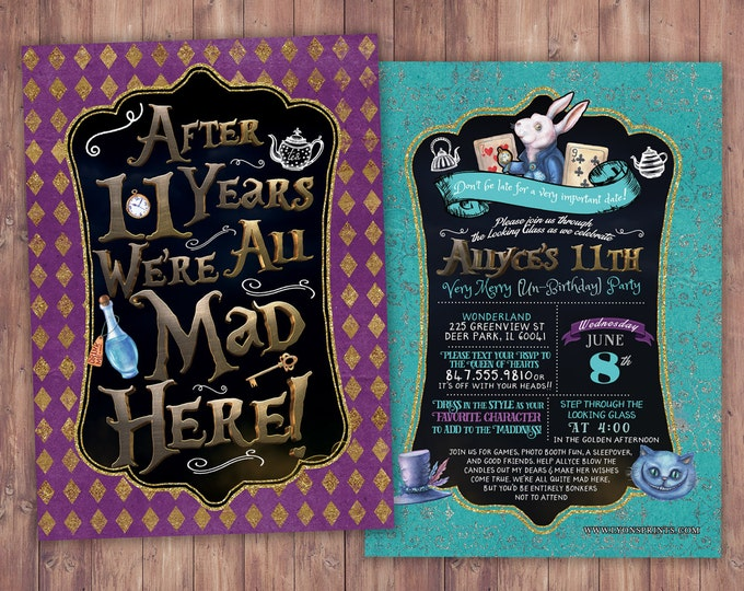 ANY AGE / Mad Hatter Tea Party, Alice in Wonderland Invitation /  Birthday Invitation /through the looking glass / coed  Baby