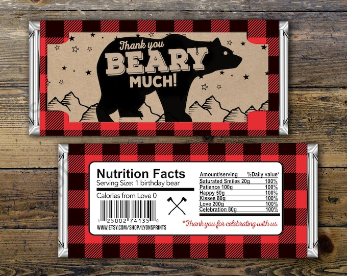 Birthday Candy Bar Wrapper – lumberjack, bear  – Party Favors- shower favor, candy, lumberjack baby shower, woodland, birthday favor