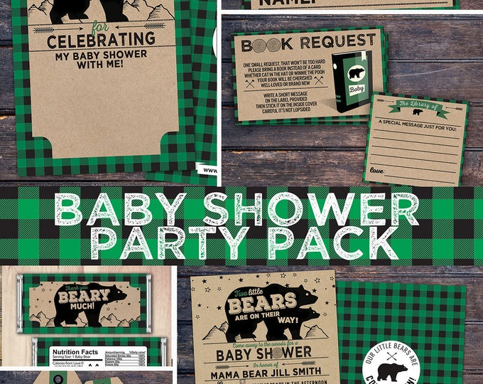 Lumberjack baby shower Invitation, digital files only, Buffalo Plaid Woodland Invitation, Lumberjack party, Bear, camping, party pack