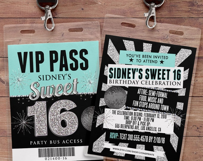 VIP PASS, Sweet 16, 21st birthday, backstage pass, birthday invitation, wedding, baby shower, bachelorette party, party favor, party bus