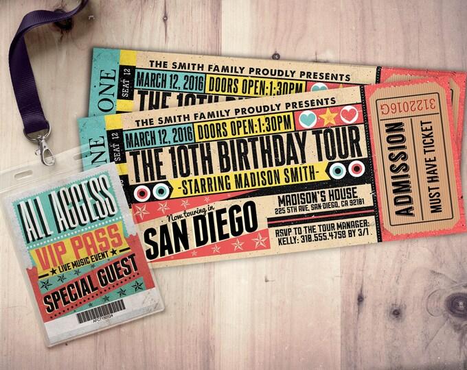 Pop star, Rock Star concert ticket birthday party invitation- Music invitation- printable, rockstar party, pop star, karaoke party,