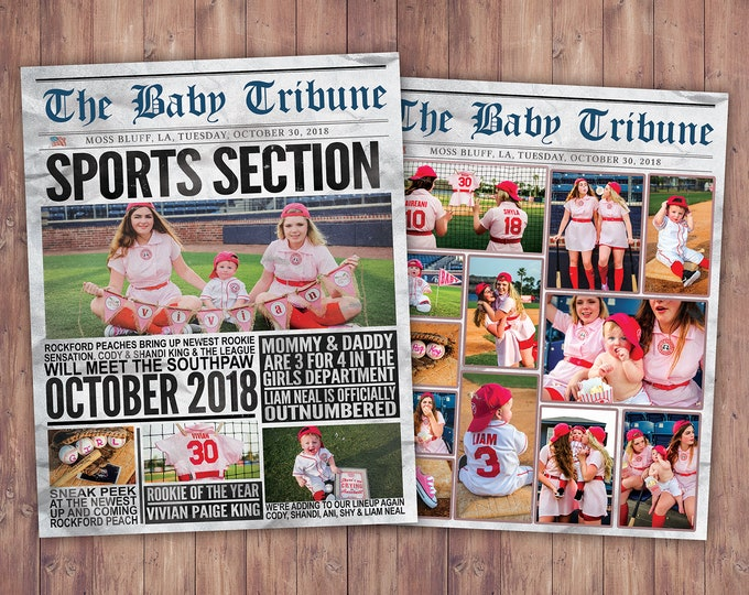 NEWSPAPER pregnancy announcement, birth announcement, sports, football, baby shower, baseball baby announcement