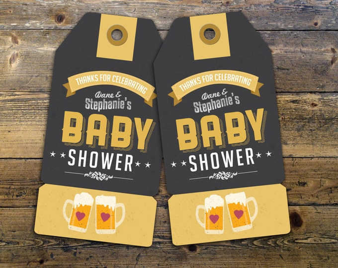 """Party favor tag """"Baby is Brewing"""" baby shower, baby shower games, baby shower sign, beer and BBQ, Tea baby shower"""