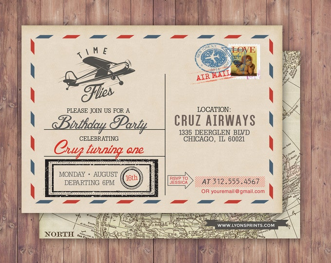 Time flies, Vintage Airplane, post card Birthday Invitation- Vintage / Rustic / Airplane / Birthday Party, ticket invitation,