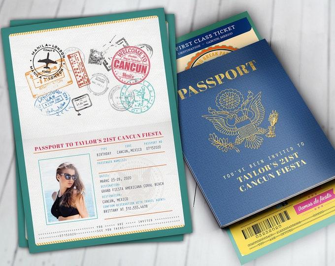 Passport and ticket birthday invitation, travel birthday invitation, cruise invitation, Mexico, Cancun, Spring Break Digital files only