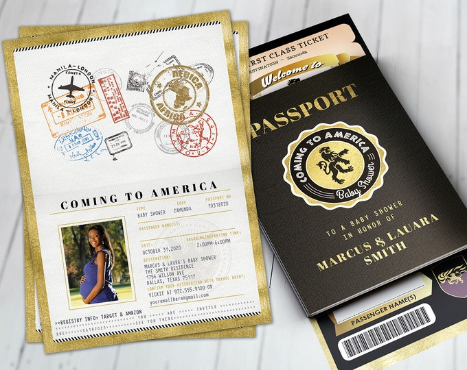 PASSPORT and TICKET baby shower invitation, Birthday invitation, Africa Passport, Coming to America, Zamunda, wedding, Digital files only